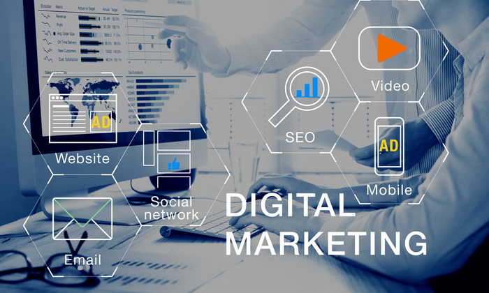 digital marketing work is shown as icons for example website, social network, SEO and etc. on bluish color background