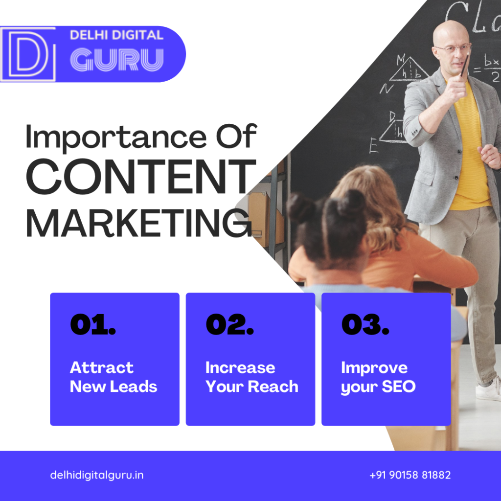Importance of content marketing with answers, a teacher is teaching the class